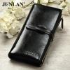 Pre-Order กระเป๋าสตางค์ผู้หญิง ใบยาว 3 พับถอดไส้ในออกได้ สีดำ หนังแท้ หนังวัว สไตล์เกาหลี JUNLAN