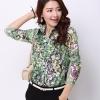 Pre-order เสื้อเชิ้ตชีฟองซีทรู แขนยาว เสื้อทำงาน พิมพ์ลายดอกไม้สีเขียว แฟชั่นสไตล์เกาหลี