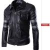 Pre-Order เสื้อแจ็คเก็ตหนัง คอปก แขนยาว หนัง PU สีดำ
