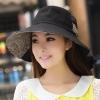 Pre-order หมวกแฟชั่น หมวกใบกว้าง หมวกฤดูร้อน กันแดด หมวกกันแสงยูวี ผ้าลินิน สีดำพิมพ์ลายดอกไม้
