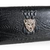 กระเป๋าคลัทช์ แฟชั่นกระเป๋าถือผู้หญิง แฟชั่นมาใหม่สไตล์ยุโรป-อเมริกา หนังแท้ประดับด้วยหัวเสือชีต้าห์ หนังแข็งปั้มลายหนังจระเข้ สีดำ