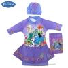 ฮ (สำหรับเด็กอายุ 6เดือน-14 ปี) Swimsuit for Girls ชุดว่ายน้ำ เด็กผู้หญิง Disney Frozen Fever บอดี้สูทเสื้อแขนยาว กระโปรงกางเกงขาสั้น สีม่วง สกรีนลาย เจ้าหญิง อันนา เอลซ่า มาพร้อมหมวกว่ายน้ำและถุงผ้า สุดน่ารัก ใส่สบาย ดิสนีย์แท้ ลิขสิทธิ์แท้