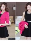 ชุดเดรสกระโปรงบานสีดำ+เสื้อสูท สีชมพูบานเย็น (ขายแยกชิ้น)