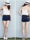 SALE 30%กางเกงยีนส์ยืด สีเข้ม ขาสั้น ทรงตรง (ภาพจากสินค้าจริง) ไซส์ S