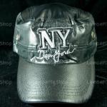 หมวก Cap หนังสีดำ ทรงหัวตัด ปัก NY เท่ห์มากๆ