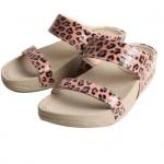 รองเท้า Fitflob Leophard Slide Pink หนังลายเสือสวม 2 สาย สีชมพู No.FF086