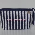 กระเป๋าเครื่องสำอางค์ นารายา ผ้าคอตตอน ลายทาง น้ำเงิน-ขาว มีสายคล้องแขน (กระเป๋านารายา กระเป๋าผ้า NaRaYa)