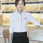 Pre-Order เสื้อเชิ้ตผู้หญิง ผ้าฝ้าย แขนยาว สีขาว ขลิบสาบเสื้อและแขนสีเทา