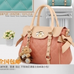 พรีออเดอร์ กระเป๋าแฟชั่นเกาหลี 2014 กระเป๋าถือผู้หญิง กระเป๋าสะพาย กระเป๋าหิ้ว มีฝาปิดด้านบน สีชมพู