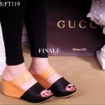 งานมาใหม่จ้า Wedges Two-Tone Style รองเท้าส้นเตารีดแบบสวมสองตอน หนังพียูสีทูโทนงานหนังนิ่มมาก