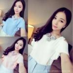เสื้อแฟชั่น 2015 ฤดูร้อนเวอร์ชั่นเกาหลีใหม่ เสื้อผ้าชีฟองแขนเปิดไหล่ สีชมพู สวยหวานน่ารักมากค่ะ