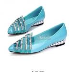 """""""พรีออเดอร์"""" รองเท้าแฟชั่นผู้หญิง ส้นเตี้ย หัวแหลม หนังแท้ สีฟ้า บุผ้าโปร่ง สไตล์หวาน ตกแต่งด้วยแถบสีเงินวิ้ง ๆ สำเนา"""