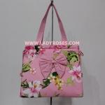 กระเป๋าสะพาย นารายา แฟชั่น Summer ผ้าคอตตอน สีชมพู ลายดอกไม้ (กระเป๋านารายา กระเป๋าผ้า NaRaYa กระเป๋าแฟชั่น)