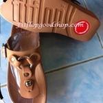 รองเท้า Fitflob New สวมกระดุม สีน้ำตาล No.FF192