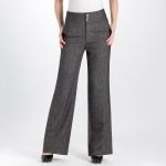 (Pre-Order) กางเกงทำงานผ้าลินิน กางเกงสแล็คลินิน ทรงขากระบอกใหญ่ สีเทา