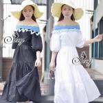 Best Seller-Restock กลับมาเพิ่มครบสีแล้วค่ะ Sevy Blue Leouvard Off Shoulder Dolly Half Sleeve Maxi Dress Type: Maxi Dress Fabric: Cotton Detail: เดรสยาวเปิดไหล่ รุ่นนี้เก๋มากเลยนะคะ ดูออกแนวเรียบๆ แต่ใส่ออกมาแล้วดูดีเลยค่ะ ดีเทลแต่งขอบช่วงเนินไฟล่ด้วยผ้าล