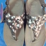 รองเท้า Fitflob Fleur Strap Pewter ดอกไม้ 5 ดอกรัดส้น สีเทาเงิน No.FF042