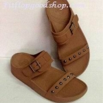 รองเท้า Fitflob New สวม เข็มขัด ปักหมุดเงิน สีน้ำตาล No.FF296