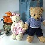 ตุ๊กตาหมีคู่ ใส่ชุดสีชมพู+ชุดยีนส์ size M