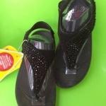 รองเท้า Fitflob Limited รุ่นเพชรกระจายใบไม้รัดส้น สีดำ No.FF158