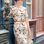 Pre-order เดรสทำงาน เข้ารูป คอกลม แขนสั้น ผ้าโพลีเอสเตอร์ พิมพ์ลายสีขาว-ส้ม