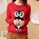 (Pre-order) เสื้อสเว็ตเตอร์ เสื้อถักไหมพรม กันหนาว ปักรูปนกฮูกน่ารัก ๆ 5 สี ชมพู เทา กากี ครีม แดง