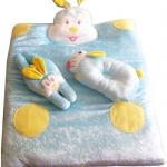 ที่นอนเด็กผ้าเลอลัว ลายกระต่าย พร้อมหมอน 2 ใบ
