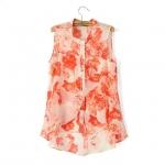 Pre-Order เสื้อชีฟองลายดอกกุหลาบโทนสีส้ม แขนกุด มีระบายรอบคอ ไส้ไก่ผูกที่คอ เสื้อผ้าแฟชั่นสไตล์เรโทร