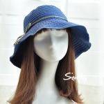 Pre-order หมวกยีนส์ปีกกว้างผูกโบว์เชือก แฟชั่นฤดูร้อน กันแดด กันแสงยูวี สีบลูยีนส์