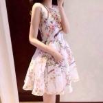 Pre-Order เดรสแขนกุด กระโปรงบาน ผ้าออร์แกนซาพิมพ์ลายดอกไม้ สไตล์เกาหลี