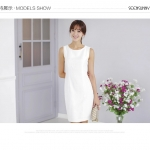 Pre-Order ชุดเดรสผู้หญิงทำงาน ชุดกระโปรงสั้น เสื้อคอกลม แขนกุด แฟชั่นเสื้อผ้าเกาหลี สีขาว