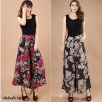 (Pre-Order) กระโปรงกางเกง ผ้าลินิน ผ้าพิมพ์ลาย แฟชั่นมาใหม่สไตล์เกาหลี (แบบ E ดอกไม้ แบบ D กุหลาบทอง)