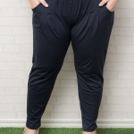 กางเกงไซส์ใหญ่ขายาวผ้าโพลีเอสเตอร์สีกรมท่ามีกระเป๋าสองข้างติดยางยืดช่วงเอว (4XL,5XL,6XL)