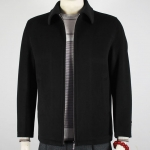 Pre-Order เสื้อเจ็คเก็ตผู้ชายผ้าขนสัตว์ เสื้อแจ็คเก็ตลำลองผู้ชาย เสื้อคลุมผ้าขนสัตว์ สีดำ