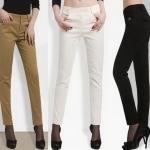 (Pre-Order) กางเกงทำงาน กางเกงแฟชั่น กางเกงลำลอง ผ้าฝ้ายทอลายดอกไม้ แฟชั่นสไตล์เกาหลี 2014