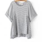 เสื้อผ้าสาวอวบแขนผีเสื้อผ้าคอตตอนลายทางขาวเทาจับจีบด้านข้างผ่าหลังปลายเสื้อ (2XL,3XL)