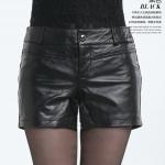 พรีออเดอร์ กางเกงผู้หญิง กางเกงหนังแท้ขาสั้น แฟชั่นเกาหลี สีดำ