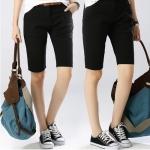 Pre-Order กางเกงขาสั้น ผ้าฝ้ายสีดำ แฟชั่นฤดูร้อนสไตล์เกาหลีปี 2015
