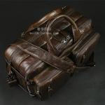 Pre-Order กระเป๋าเดินทาง กระเป๋าธุรกิจ กระเป๋าสะพาย กระเป๋าหิ้ว หนังแท้ สไตล์ย้อนยุค (Retro) สีน้ำตาลไหม้ผิวมัน