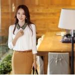 (Pre-Order) เสื้อทำงาน คอปกโปโลประดัีบไข่มุก ปักลวดลายสีทอง แขนยาว ผ้าชีฟอง สีขาว แฟชั่นสไตล์เกาหลีปี 2014