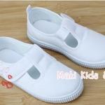 รองเท้าพละเด็กสีขาว แบบติดด้านข้าง