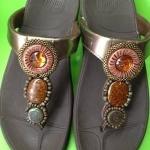 รองเท้า Fitflop New pietra ลูกปัด 3 เม็ด สีน้ำตาลทอง  No.FF104