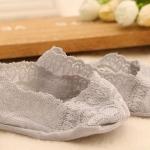 ถุงเท้าเด็กผ้าลูกไม้ สำหรับใส่กับรองเท้าคัชชู สีเทา