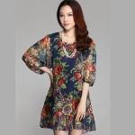 (Pre-Order) เดรสผ้าชีฟอง แขนสั้น มีซับใน ลายดอกกุหลายโทนสีน้ำเงิน แฟชั่นสไตล์เกาหลี ปี 2015