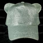 หมวกกากเพชร สีเงิน Bear หูหมี