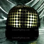 หมวกแก๊ป Cap สีดำลายหมากรุกสีทอง