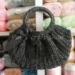 กระเป๋า เชือกร่ม สีดำ ดิ้นเงิน