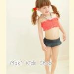 ชุดว่ายน้ำเด็ก สไตล์วินเทจ เสื้อสีชมพู กางเกงสีเทา