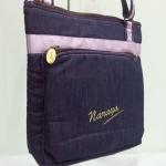 กระเป๋าสะพาย นารายา ผ้าเดนิม ทรงสี่เหลี่ยม สียีนส์-ม่วง มีโลโก้นารายาด้านหน้า (กระเป๋านารายา กระเป๋าผ้า NaRaYa กระเป๋าแฟชั่น)