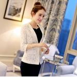 (Pre-order) เสื้อสูทแฟชั่น เสื้อสูทผู้หญิง ผ้าลูกไม้ทอทั้งตัว แขนสามส่วน แฟชั่นสไตล์เกาหลี ปี 2015 สีขาว